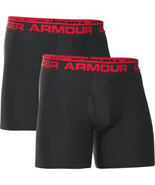 "Under Armour Mens Boxerjock 2 Pack 6"" Boxer Brief Multi Sizes Black/Red NWB - $23.66"