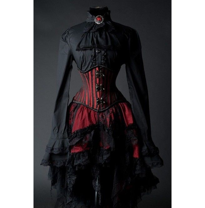 Goth Victorian Steampunk Red Black Lace Knee Length Asymmetrical Ruffle Skirt