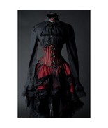 Goth Victorian Steampunk Red Black Lace Knee Length Asymmetrical Ruffle ... - $52.71
