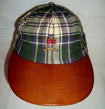 Vtg Tommy Hilfiger Green Plaid Leather Bill Crest Logo Baseball Cap Hat ... - $42.04