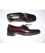 BRIGHTON 7M leather lace-up oxfords shoes Italy brown/black moc croc silver - $51.41