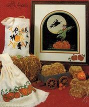 Cross Stitch Halloween Night Watchman Sampler Treat Bag Pumpkin Towel Pattern - $11.99