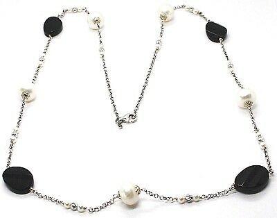 Halskette Silber 925, Onyx Schwarz Oval Facettiert, Perlen, 80 cm, Kette Rolo