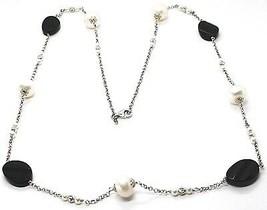 Halskette Silber 925, Onyx Schwarz Oval Facettiert, Perlen, 80 cm, Kette Rolo image 1