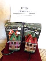 2 Vintage Noma Victorian Lighted Mansion Ornaments (#2675) - $22.99
