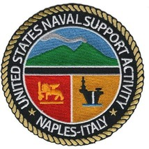 """4.5"""" NAVY NAVAL SUPPORT ACTIVITY NAPLES ITALY EMBROIDERED PATCH - $16.24"""
