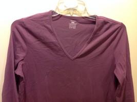 Jones SPORT Purple V Neck Long Sleeve Top Sz XL image 2