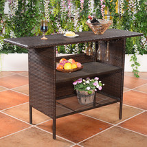 Outdoor Patio Rattan Bar Counter Table - $226.34