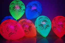 10 Pack Neon Assorted 11 inch Blacklight Reactive Latex Happy Birthday Balloons - $8.50