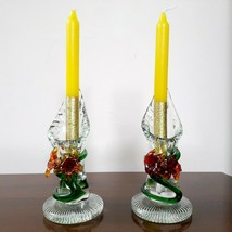 Vintage Lovely Pair Colored Art Deco Pressed Glass/Flowers Candlesticks ... - $133.64