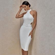 Women New Summer Arrival Sexy White Halter Midi Bandage Celebrity Evening Party