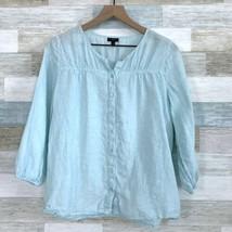 Talbots Linen Button Down Peasant Shirt Blue 3/4 Sleeve Womens Medium Pe... - $31.67