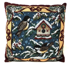 Vintage Tapestry Country Farm House Snow Birds Christmas Throw Pillow - $50.39