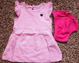 Girl's Size 3 M 0-3 Months 2 Pc Pink & White Striped NIP Carter's Dress,... - $18.00