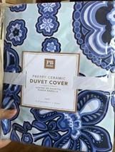 Pottery Barn Teen Preppy Floral Duvet Cover Blue Twin & Standard Sham Te... - $99.99