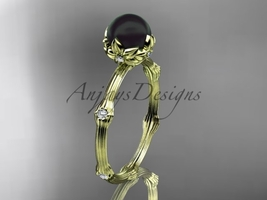 Yellow gold nature inspired ring, 14k yellow gold Tahitian Black Pearl v... - $795.00