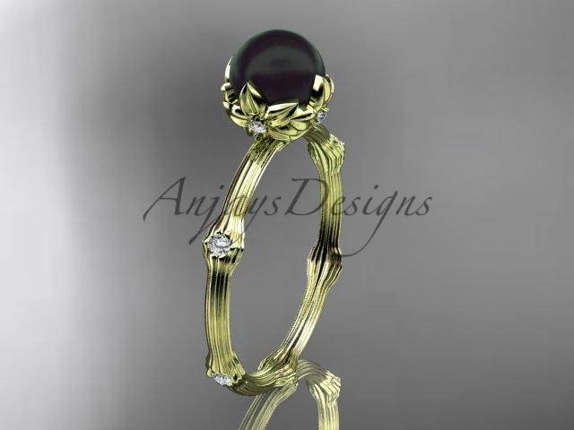 Abp38 yellow gold  tahitian black pearl   diamond wedding band  diamond engagement ring  1