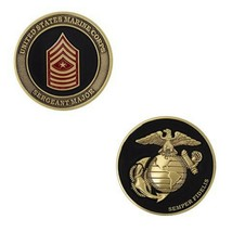 "MARINE CORPS SERGEANT MAJOR BLACK GOLD SILVER EGA 1.75"" CHALLENGE COIN - $17.09"