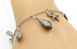 PIDIDDLY LINKS 925 Silver - Vintage Pearls Sea Shell Charm Chain Bracele... - $41.14
