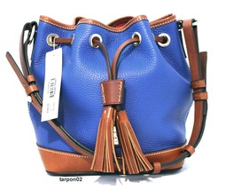 NWT Dooney & Bourke Pebble Leather Small Drawstring Bucket Bag FRENCH BLUE  - $209.99