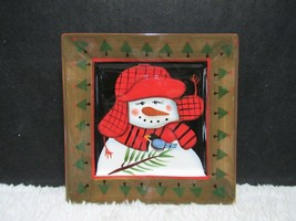 2009 Pfaltzgraff Camp Jingles Christmas Decorative Snowman Snack Plate - $10.75