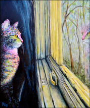 Cat Art Print - Tabby Cat Looking Out a WIndow ... - $13.99