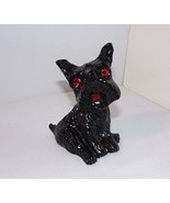 "Vtg Coal Scottish Terrier Black Figure Red Shiny Faceted Eyes 3.25"" Tall - $17.28"
