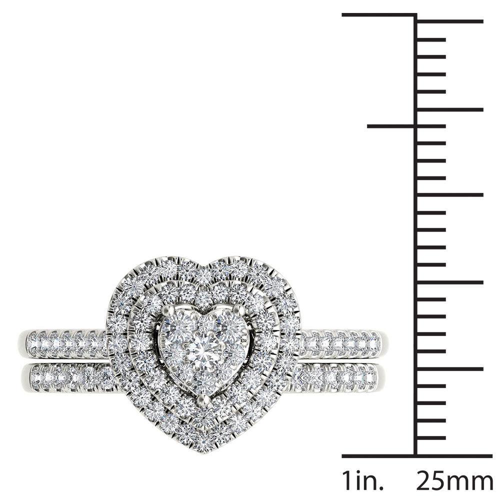 IGI Certified 0.50 Ct 14K White Gold Diamond Heart Shaped Engagement Ring Set