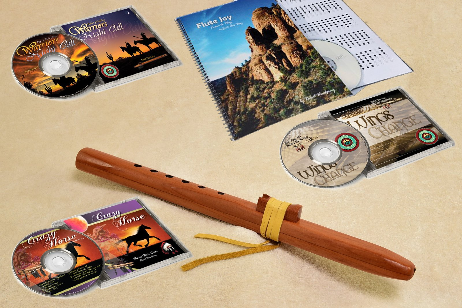 Windpony Hi C Cedar Flute with Instruction Book and 3 Flute CD's