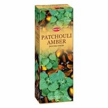 Hem Patchouli Amber Incense Sticks Natural Fragrance 6 Packs of 20 Sticks - $11.06