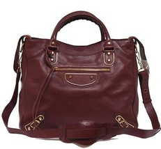 New $2450 Balenciaga Velo Metallic Edge Brique Rouge Leather Messenger Bag - $1,860.04