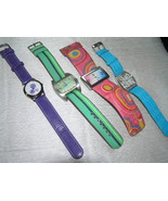 Estate Lot of 4 Colorful Wide Band Watches with Faux Leather & Parachute... - $9.49