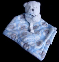 Blankets and Beyond Bear Blue Gray Owls Security Blanket W/ Pacifier Holder - $24.51 CAD