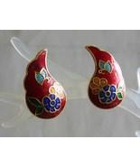 Elegant Red Cloisonne Enamel Flowers & Butterfly Pierced Earrings 1970s ... - $12.95