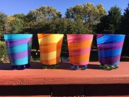 4 Retro Funky Detroit Glass Bar Footed Juice Colorful Striped Bands Glas... - $17.81