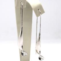 Boucles D'Oreilles Pendantes or Blanc 750 18K, Double, Spirale, Courbe, Made En image 1