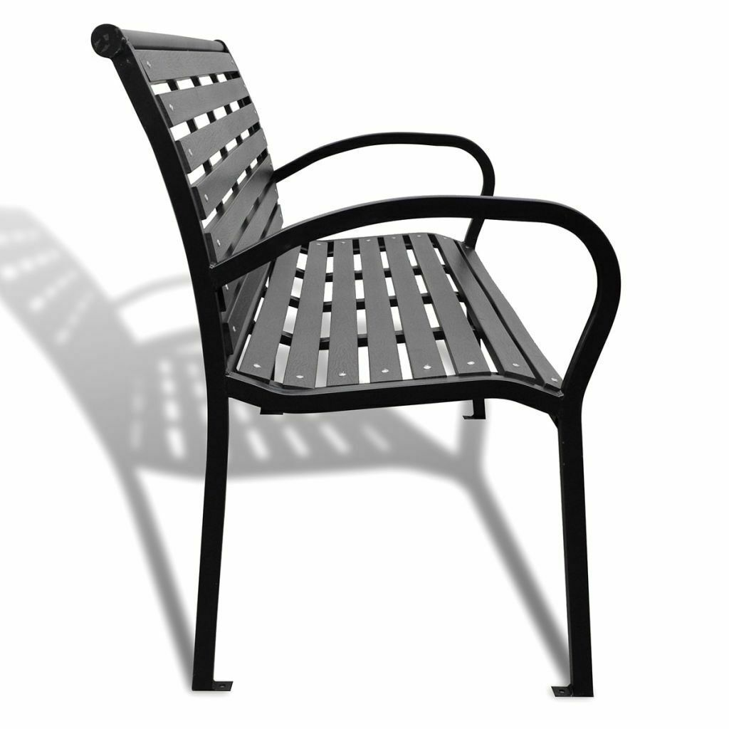 vidaXL Garden Bench Steel Porch Patio Park Path Chair Outdoor Deck Seating