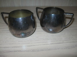 Sugar Bowl & Creamer Quadruple Plate Silver Plate Empire Crafts 1930-1950  - $9.95