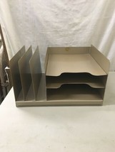 Curmanco vintage brown metal Desk Top In / Out Box 3 Tier File Folder in... - $59.99