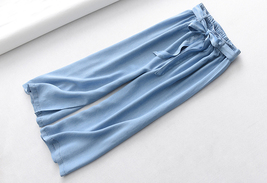 Light Blue Denim Crop PALAZZO PANTS TROUSERS Women Blue Loose Wide Leg Pants  image 3