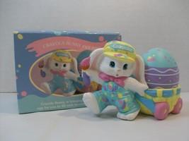 Hallmark Crayola Bunny Figurine Easter Egg Pastel Colors Purple Pink Blue 1990 - $12.86