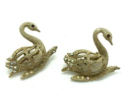 Vintage pair Scatter Pins Brooches Swans aurora borealis Rhinestones wed... - $14.84
