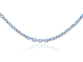 White Gold Rolo Cable Chain Spring ring Clasp 1.38 mm - $118.57+
