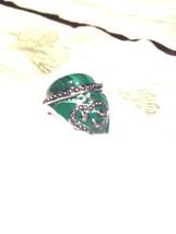 Deco Genuine Green Malachite Enamel Vintage 925 Sterling Silver Size 7 Ring - $114.80