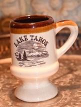 VINTAGE LAKE TAHOE SOUVENIR MUG SHOT GLASS  CUP STONEWARE POTTERY BROWN ... - $22.99