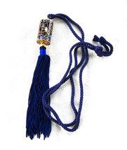 Necklace Tassel Blue Cloisonne Enamel Necklace Cylinder Barrel Silk Cord... - $38.00