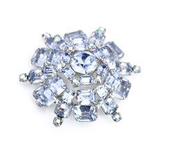 Gorgeous Vintage Signed Weiss Layered Statement Brooch Blue Aurora  2 1/... - $98.00