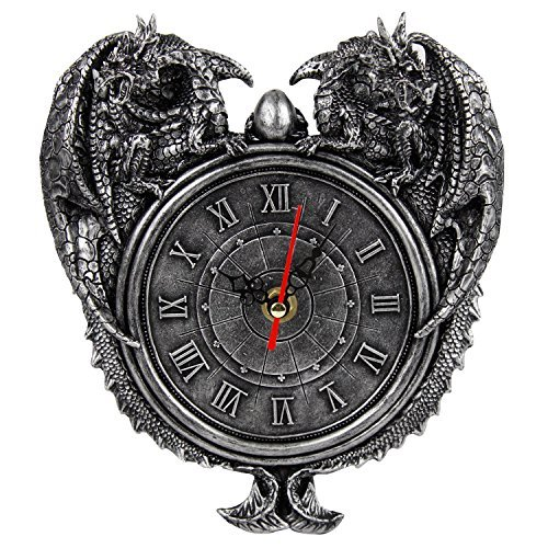 Primary image for Pacific Giftware Dragon Twins Sentinel Double Dragons Guarding Orb Wall Clock Me