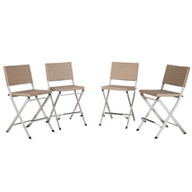 Set of 4 Outdoor Wicker Rattan Bar Stool Patio Furniture Dining Chairs B... - $179.99