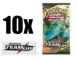 Pokemon Team Up 10 Booster Pack Lot Pokemon TCG Sun & Moon SM9 - $31.99